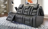 Quilted Power Reclining Theater Sofa with USB Charging & LED lights, Recliner, Cup Holders in Quilted Gray with open arm rests