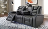 Quilted Power Reclining Theater Sofa with USB Charging & LED lights, Recliner, Cup Holders in Quilted Gray