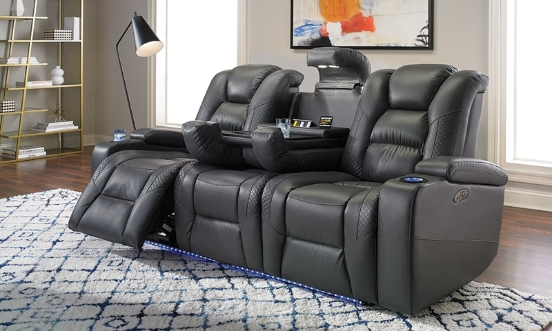 Power Reclining Sofa With Usb Charging And Led Haynes Furniture