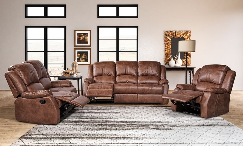 Daria 3-Piece Brown Faux-Leather Living Room Set Manual Recliner, Loveseat and Sofa with Drop Down Table