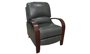 Modern Gray Top-Grain Leather Manual Push Back Recliner with Steam Bent Wood Arms