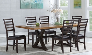 7-Piece Two-Tone Farmhouse Dining Set with 96-inch two-toned trestle table and six ladderback chairs