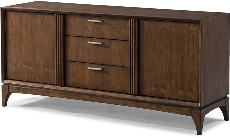 Klaussner Simply Urban 62 Inch Contemporary Media Storage Console In Cherry  Brown With Three Full