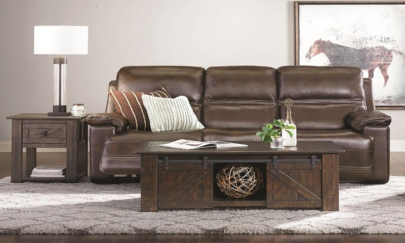 Top-Grain Leather Power Reclining Sofa with Power Headrest & Lumbar Support with Drop-Down Table in Brown