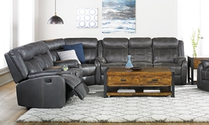 Cache Reclining Storage Sectional with four recliners, cup holders, storage console, drop down table and hidden drawer in Charcoal Gray Faux Leather Fabric