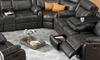 Cache Reclining Storage Sectional with four recliners, cup holders, storage console, drop down table and hidden drawer in Charcoal Gray Faux Leather Fabric - Reclined