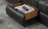 Cache Reclining Storage Sectional with four recliners, cup holders, storage console, drop down table and hidden drawer in Charcoal Gray Faux Leather Fabric - Hidden Drawer