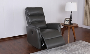 Contemporary Triple Back Wall Away Power Recliner in Taupe Faux-Leather - Room