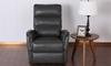 Contemporary Triple Back Wall Away Power Recliner in Taupe Faux-Leather - Front View