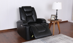 Wall Away Theater Faux Leather Power Recliner with Cup Holders & USB in Black - Room View