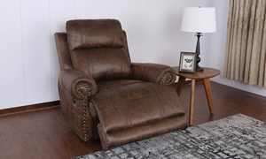 Traditional Wall Away Faux Leather Roll Arm Power Recliner in Brown - Room Shot