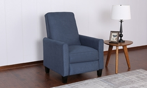 Denim Blue Fabric Track Arm Push Back Recliner - Room View