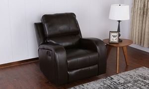 Contemporary Pub Back Faux-Leather Wall Away Recliner in Brown - Room View