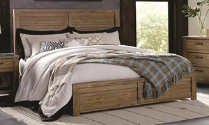 Soho Urban Rustic Acacia Queen Panel Bed in Natural Wood Tones