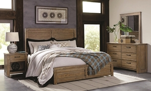 Soho Urban Rustic Acacia Queen Panel Bedroom Set with Acacia Bed, 6-drawer Dresser and Mirror in Natural Finish
