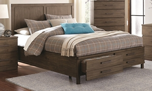 Beckham Rustic Contemporary Pine Queen Storage Bed with Footboard Drawers in Bedroom