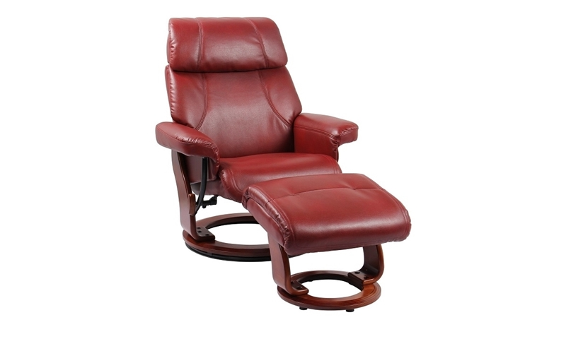 Benchmaster Bella Ruby Red Stress-Free Recliner & Ottoman