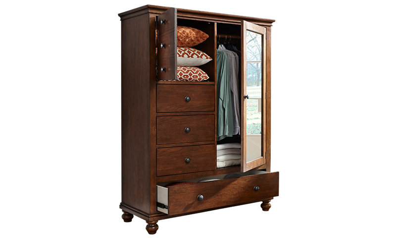 Aspenhome Oxford Whiskey Brown Chifferobe Wardrobe Closet with storage drawers, shelves and rod.
