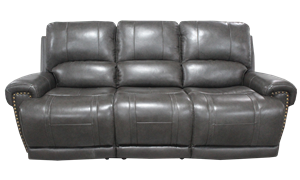 90-Inch Top-Grain Leather Power Sofa with Power Headrest