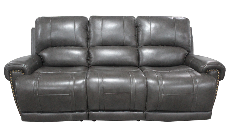 90-Inch Top-Grain Leather Power Sofa with Power Headrest in Slate Gray