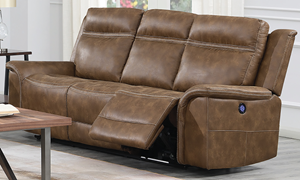 Madera 91-Inch Power Reclining Sofa with Power Headrest & USB Charging in Brown Faux Leather - Reclined