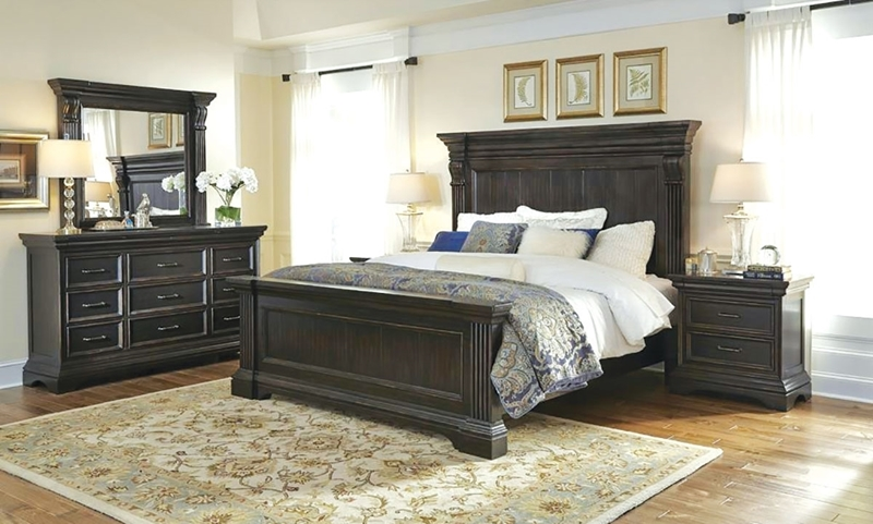 Pulaski Blackwell Traditional Queen Mansion Bedroom in Dark Brown Molasses featuring Stately Bed with 68-inch High Plank Panel Headboard, 11-drawer Triple Dresser and Matching Landscape Mirror