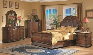 Coventry European Traditional Sleigh Bedroom Set with Grand King Bed with Bonded Leather Tufted Headboard, Marble Top Triple 11-Drawer Dresser and Ornate Oversized Mirror in Brown Cherry Wood