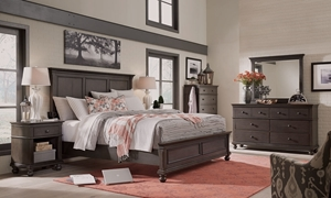aspenhome Oxford King Panel Bedroom Set in Peppercorn Gray with King Panel Bed with USB Charging, Dresser with Six Full-Extension Drawers and Landscape Mirror in Gray Peppercorn Finish