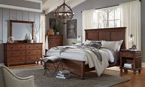 aspenhome Oxford Whiskey Brown Queen Bedroom Set includes Panel Bed with USB Charging Ports, 6-Drawer Dresser and Landscape Mirror