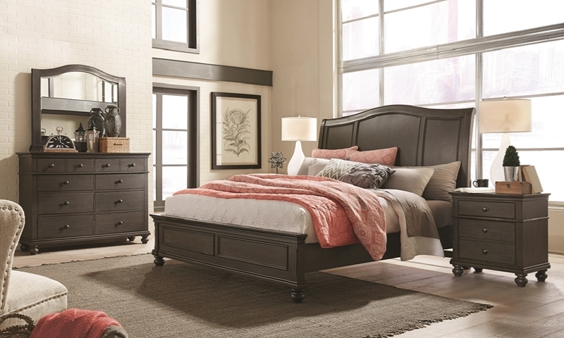 aspenhome Oxford Peppercorn Gray Queen Sleigh Bedroom with Bed, Dresser and Landscape Mirror