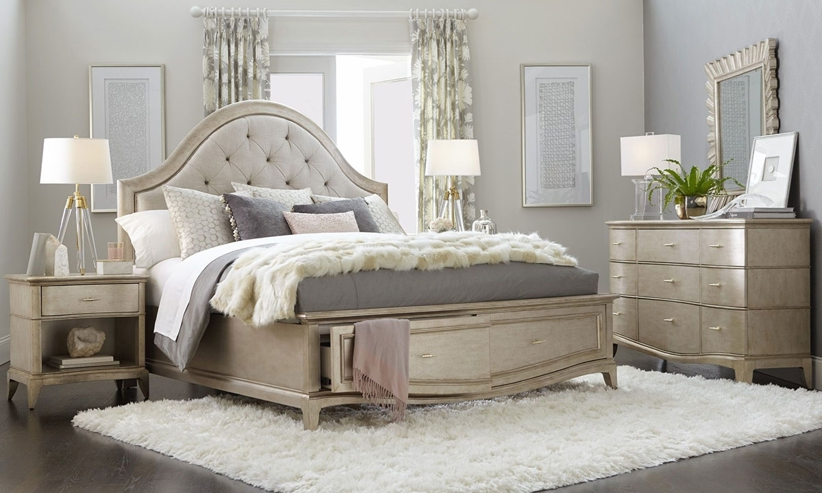 A R T Starlite Glam Upholstered Queen Storage Bedroom