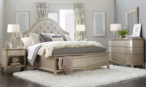 A.R.T. Starlite glam metallic finish upholstered king storage bedroom set with diamond tufted backing and matching mirror and dresser.