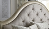 A.R.T. Starlite glam upholstered king bed with diamond tufted backing in metallic finish.