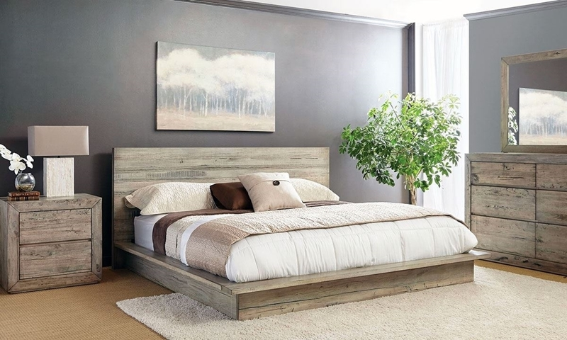 Cambria contemporary king platform bed handcrafted from sustainably sourced solid mahogany, mango and white cedar woods.