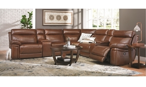 Violino Top-Grain Leather Power Reclining Storage Sectional with USB charging in Chestnut Brown