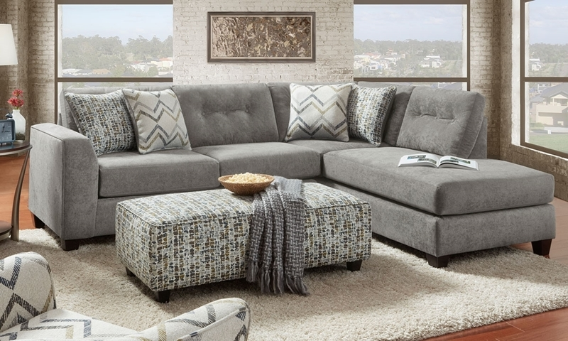 Sensation Vintage Handmade Upholstery 2-piece Sectional Sofa with Chaise featuring Tufted Back Cushions and 4 Toss Pillows in Light Gray Fabric