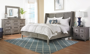 River Rock Woven Queen Shelter Bedroom Set with Shelter Bed with Woven Panels, 12-drawer Dresser with Faux Cabinet Doors and Landscape Mirror in Gray Finish