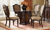 Grand Estates 5-Piece Round Old World Dining Set II includes Glass Top Table with Cinnamon Pedestal and 4 Gold Upholstered Lute Back Side Chairs - Dining Room Shot