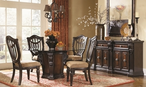 Grand Estates 5-Piece Round Old World Dining Set with Glass Top Pedestal Table and 4 Lute Back Side Chairs - Dining Room Shot