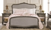 Viviana Antique Silver Glam Queen Anne Upholstered Bedroom Set with Twin Bed, 3-Drawer Dresser and Mirror - Bed Shot