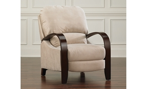 Handcrafted Contemporary Push-back Recliner with Tan Upholstery and Mahogany Steam Bent Wood Arms