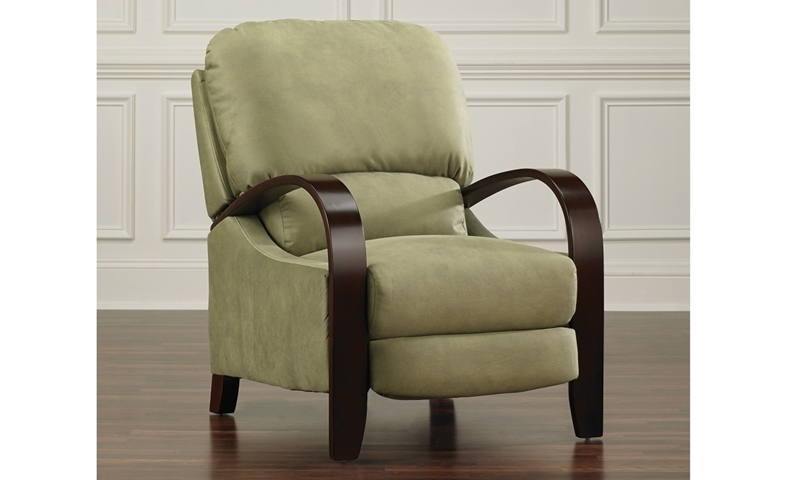 Handcrafted Contemporary Steam Bent Mahogany Wood Push-back Recliner in Green