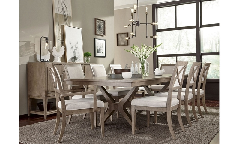 Bridgewater Weathered Oak 5-Piece Dining Set with 118-inch expandable trestle table and 4 neutral upholstered side chair - Full Room Shot