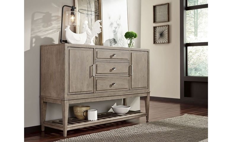 Bridgewater Weathered Oak Sideboard with two wine cabinets, drop front drawer and hidden serving tray - Closed