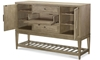 Bridgewater Weathered Oak Sideboard with two wine cabinets, drop front drawer and hidden serving tray - Open