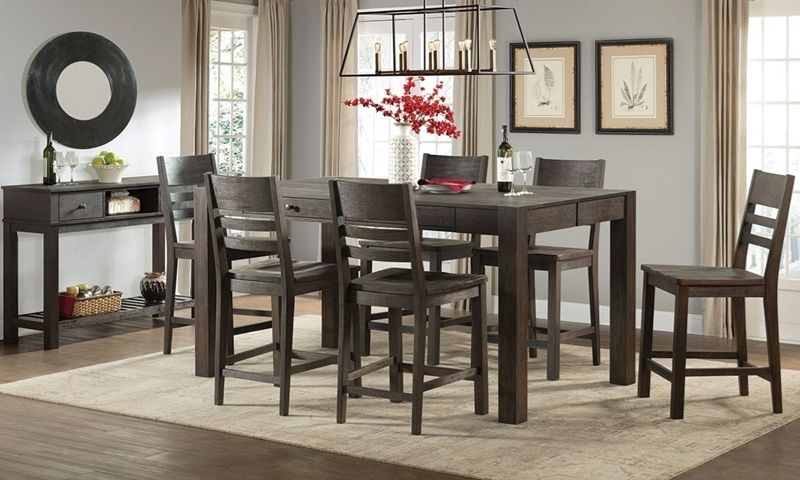 Salem Acacia 5-Piece Counter Height Dining Set including 72-inch Table with Four Storage Drawers and Four Slat Back Chairs in Cocoa Brown