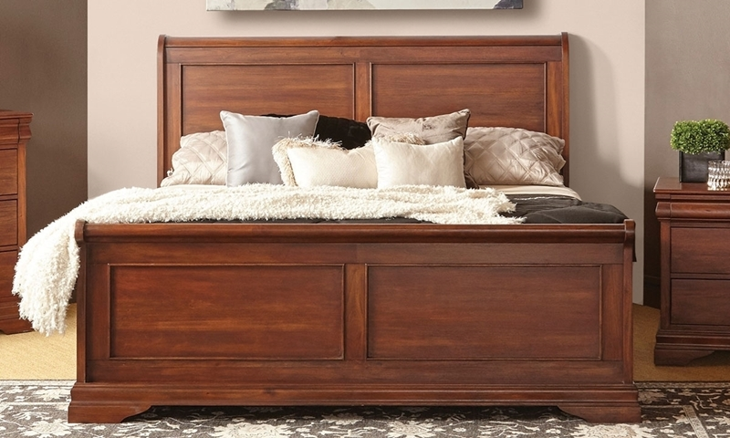 Louis Phillippe-Style Frenchie Mahogany King Sleigh Bed