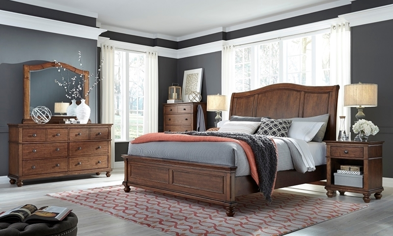 aspenhome Oxford Whiskey Brown Queen Sleigh Bedroom Set with Bed, Dresser and Landscape Mirror