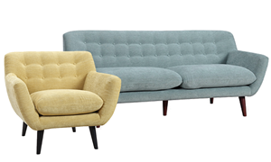 Retro 2-Piece Button-Tufted Living Room Set with Spearmint Green Sofa and Banana Yellow Chair