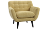 Mid-Century Modern Button-Tufted Accent Chair in Banana Yellow Upholstery with Tapered Wooden Legs - Angled View